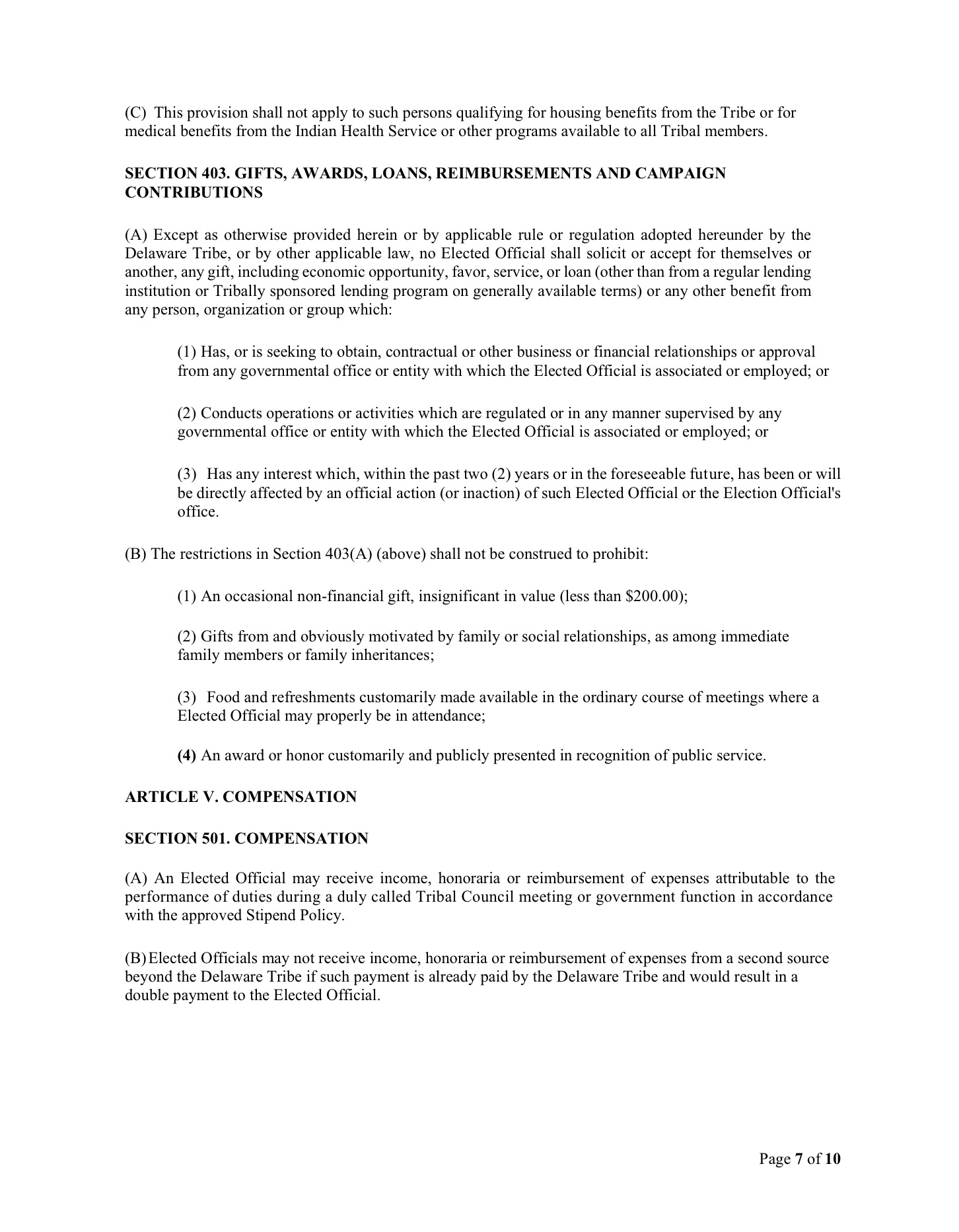 Delaware Tribal Government Code of Conduct « mydelawareviews